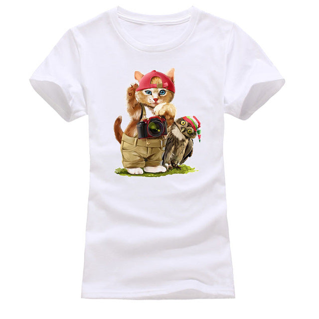 New 2018 summer  3D cat printed girl t-shirts