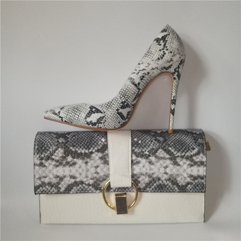 12cm women shoes pumps With Matching Clutch Bags Sets White Color 36-42