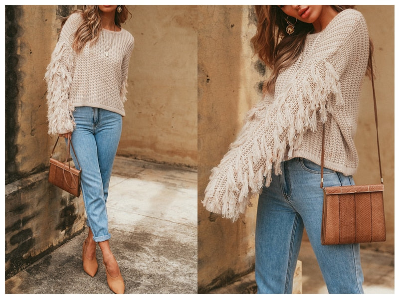 BeAvant Tassel knitted sweater women pullover loose Casual army green winter 2018 autumn