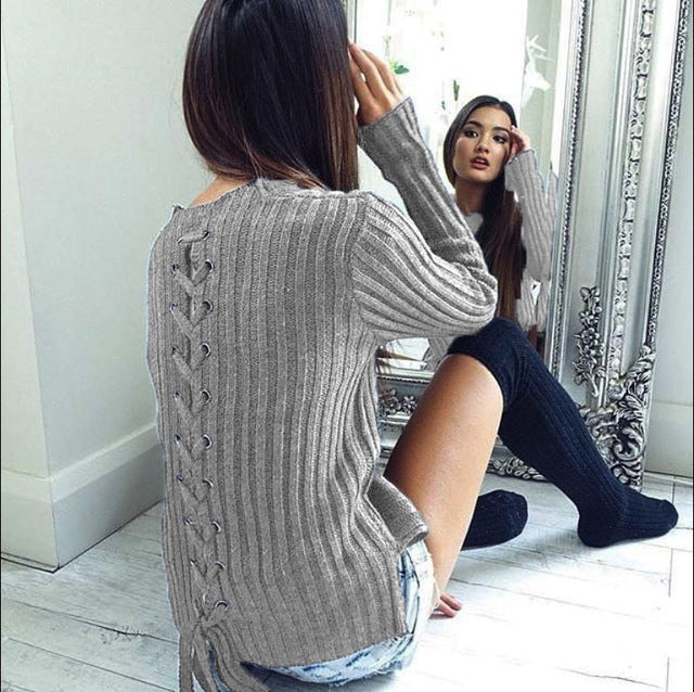 Autumn Knit Pullover Sweaters Winter Slim Knitted Tops Lace Up