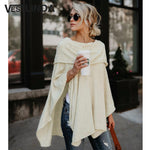 Off Shoulder Top Asymmetric Overlap Solid Poncho Pullover Blouse Women