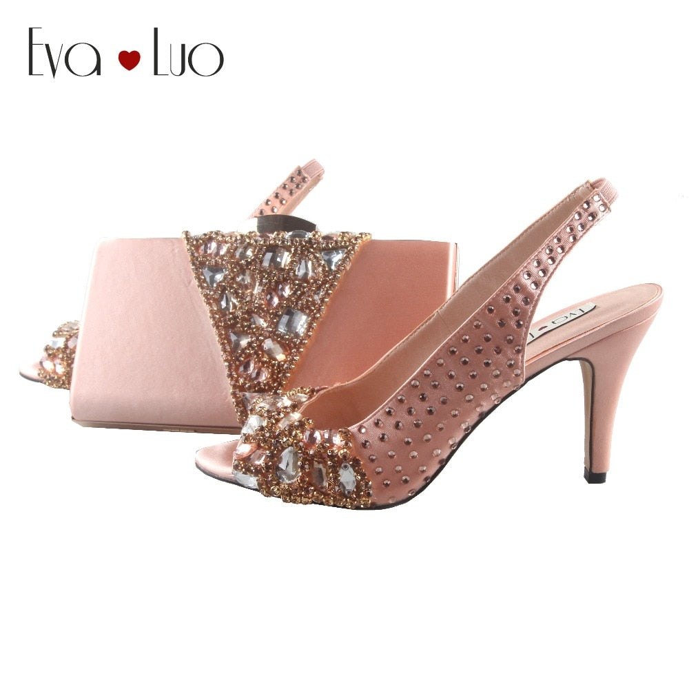 Custom Made Peach Crystal Shoes With Matching Bag Set Slingbacks Women Shoes Dress Pumps