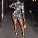 Sequin Women Jumpsuit Shorts Long Sleeve Turtleneck Sexy Club Party