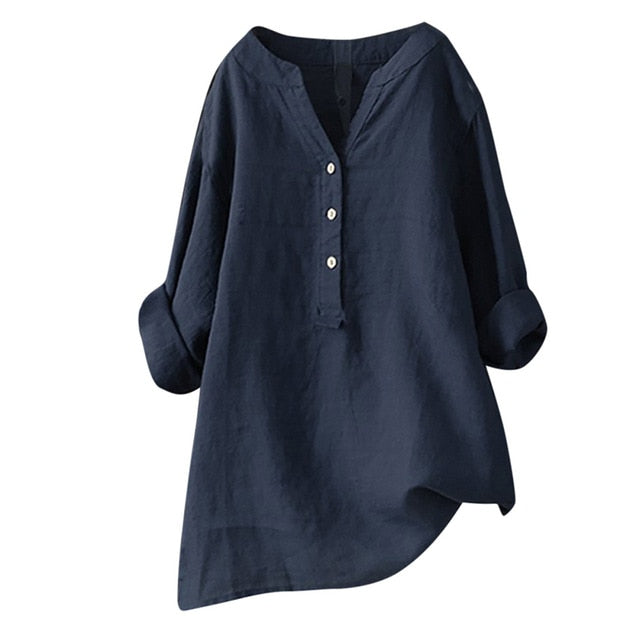 Women Plus Size Blouse 2019 Summer Autumn V Neck Loose Long Sleeve Tops Shirts