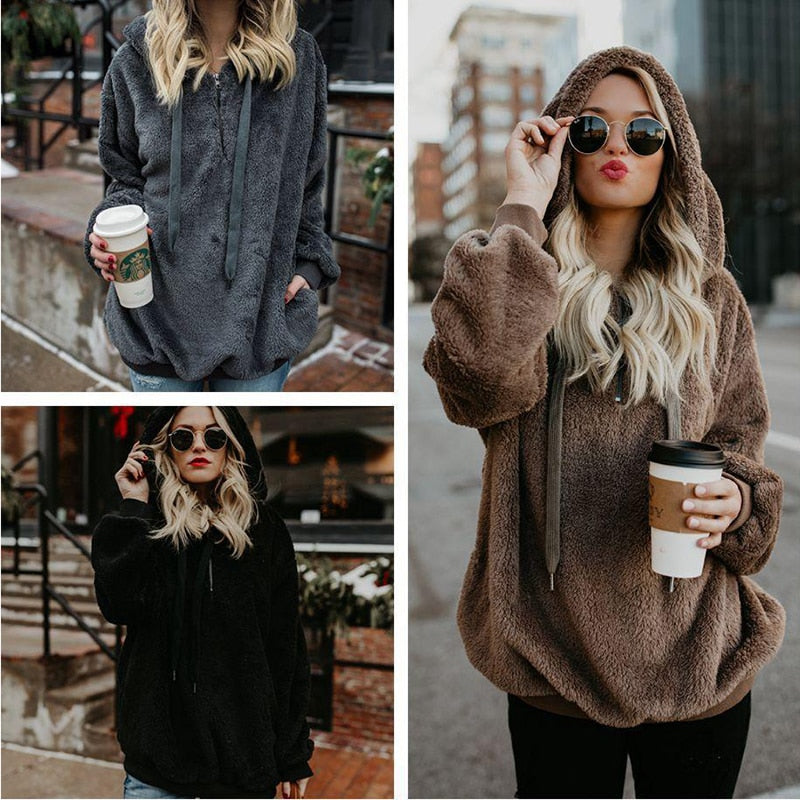 5XL Plus Size Fleece Pullover Women Hooded Sweaters 2019 Winter Autumn