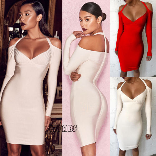Sexy Halter Women Dresses Clothing Long Sleeve Off Shoulder  Evening Party Dress