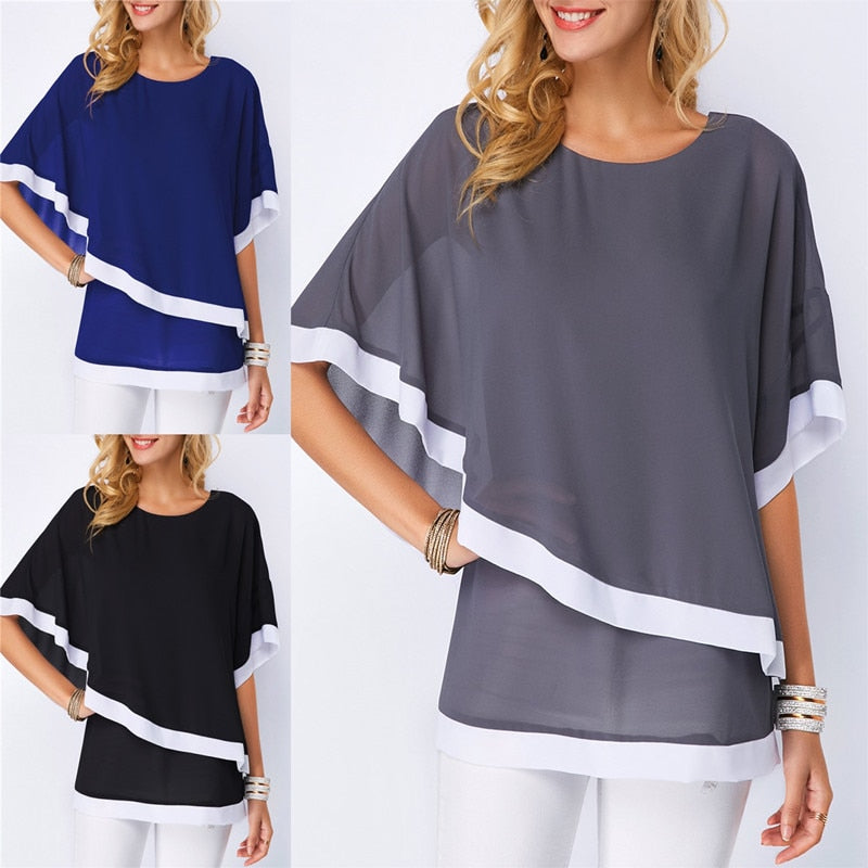 Summer Casual Women's Chiffon Shirt 2019 Bat Sleeve Loose Plus Size Blouse