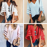2XL Women Flare Sleeve Blouse Summer Loose V Neck Tops
