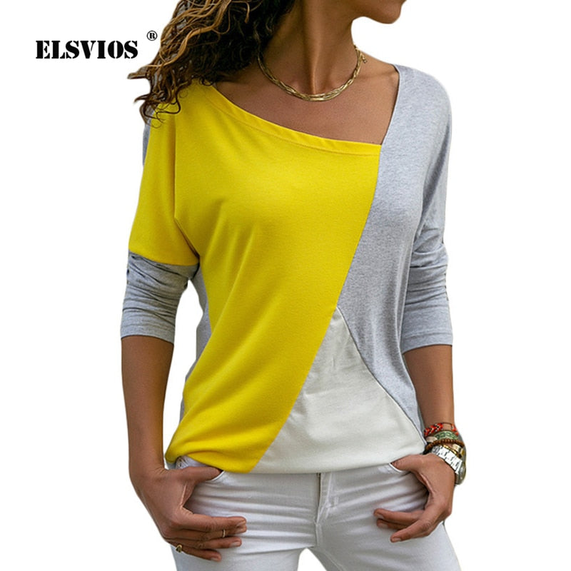 Elegant Office Patchwork Shirt Blouses Women 2019 Casual Long Sleeve  2XL