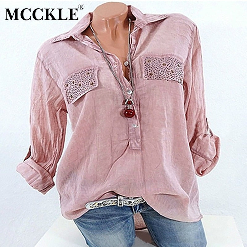 Womens Tops and Blouses 2019 Solid Loose Shirts Plus Size Pink