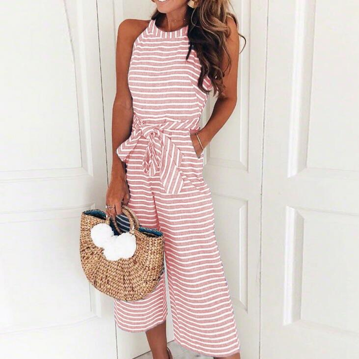 Women 2019 Summer Striped Sleeveless Jumpsuit Halter Neck Women Wide Legp 5 Colors