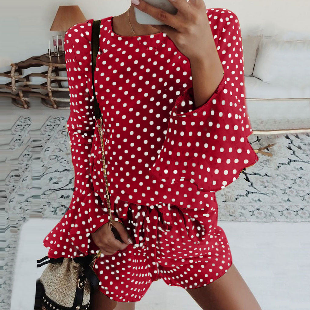 Polka Dot Flare Sleeve Two Piece Set Drawstring Short Pants Tracksuit Women O-Neck Long