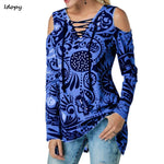 Idopy Women's Spring Tunic Printed Women's Shirt Blouse Elegant V Cut Summer Women Weekend Casual Shirt Top Streetwear