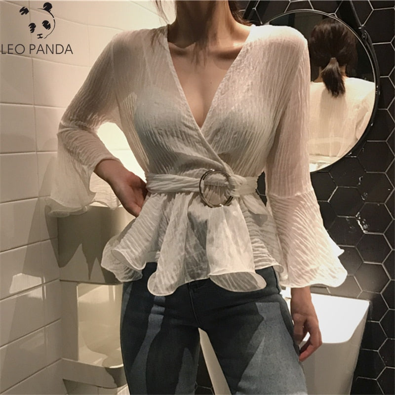 Tie-waist Chiffon Shirt Spring Summer 2019 Women's Fashion White Long Sleeved Flare Sleeve V-neck Female Blouses Office Lady