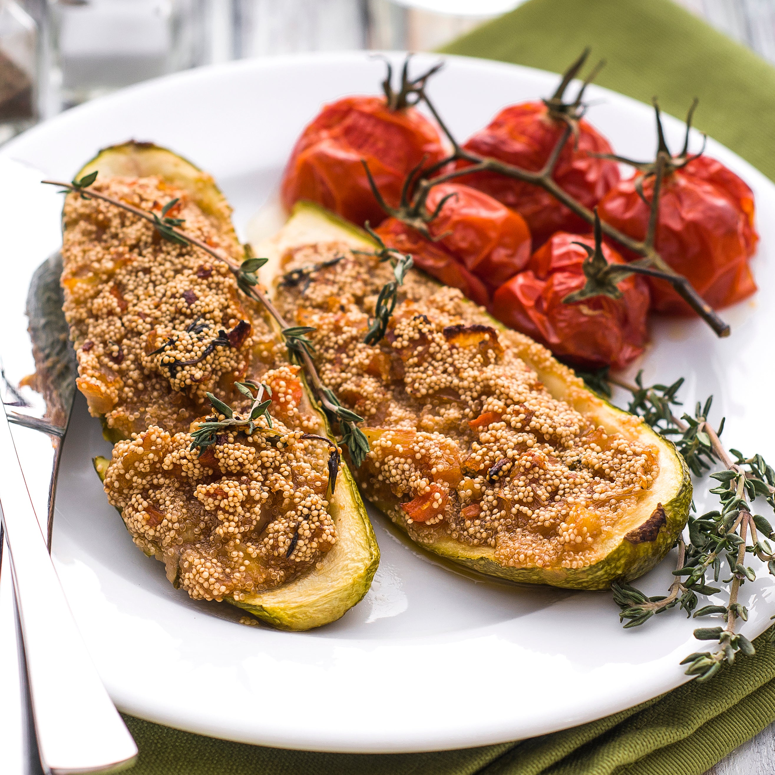 Stuffed Zucchini with Amaranth and Veggies