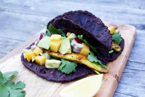 Purple Corn Fish Tacos w Mango Salsa