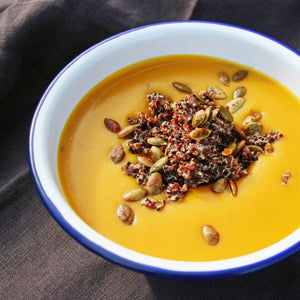 Pumpkin Soup w/Quinoa and Toasted Pumpkin Seeds