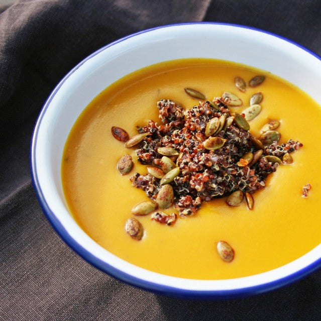 Pumpkin Soup w/ Quinoa and Toasted Pumpkin Seeds