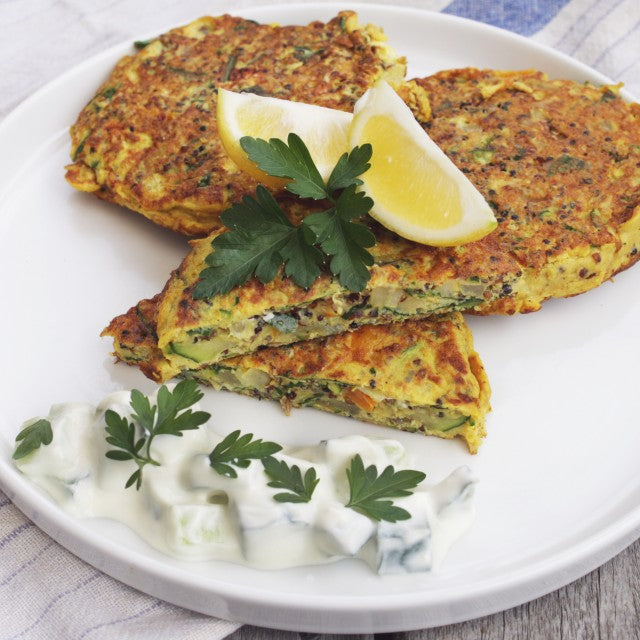 Quinoa Fritters with Tzatziki Sauce