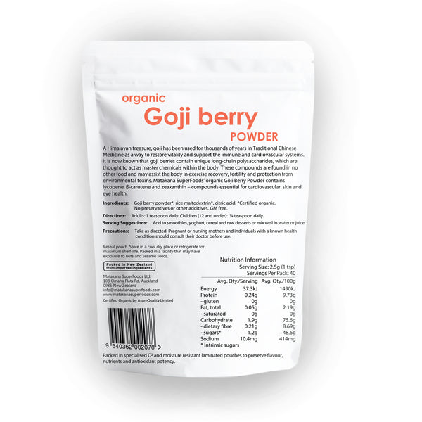 Organic Goji Berry Powder 100g - Matakana Superfoods