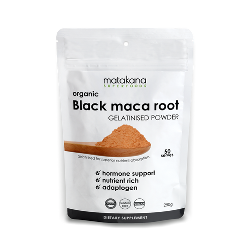 Organic Maca Root Black gelatinised powder 250g - Matakana Superfoods