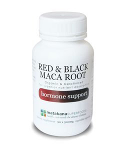 Organic Maca Root Red & Black gelatinised 90 x 500mg veg caps - Matakana Superfoods