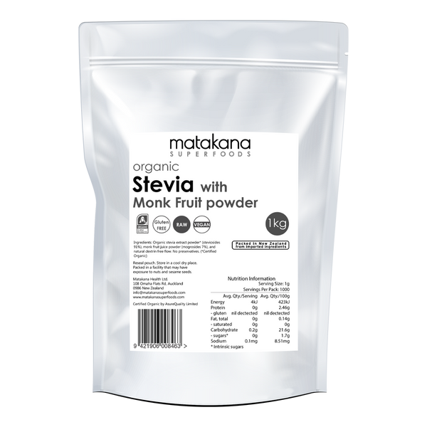 Organic Stevia With Monk Fruit Powder 1kg - Matakana Superfoods