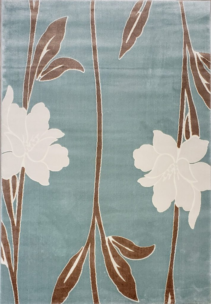 Air Force Blue Floral Area Rug