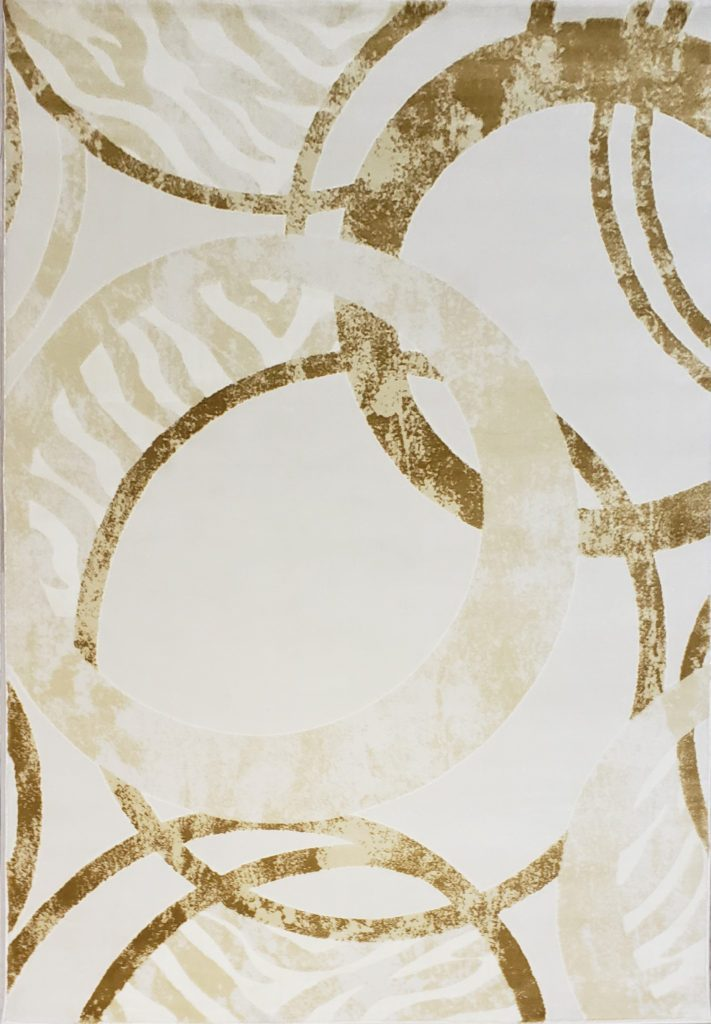 Beige Cream Circles Area Rug