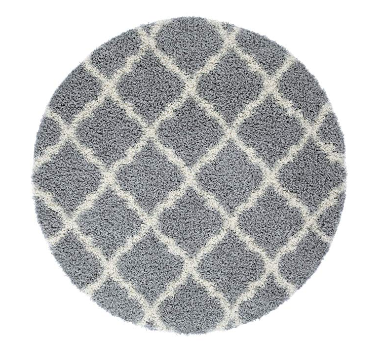 Ladole Rugs 5 Feet Diameter Round Shaggy Modern Area Rug Carpet in Grey-Cream