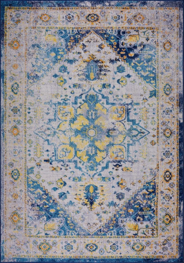 "Modena Traditional Design Turkish Machine Made Beautiful Indoor Mat Carpet in Blue Multicolor, 2x3 (1'10"" x 2'11"", 57cm x 90cm), 2x3 (1'10"" x 2'11"", 57cm x 90cm), Blue Multi"