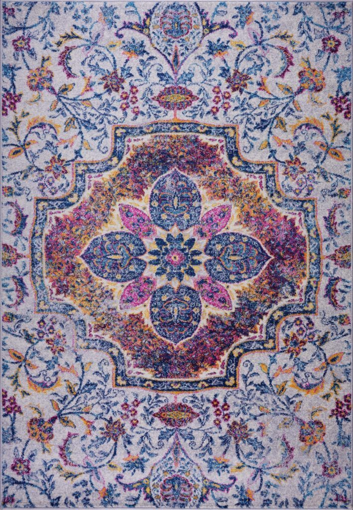 Maya Traditional Design Beautiful Polypropylene Mat Carpet in Blue Pink