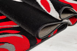Calvin Abstract Contemporary Modern Rug in Black and Red