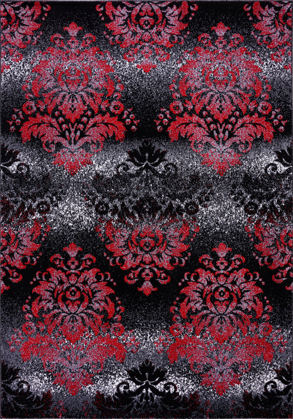 Milan Red Black Damask Area Rug