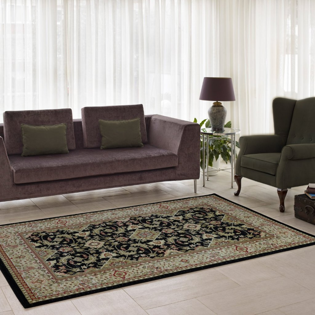 Terra Traditional Black Area Rug -