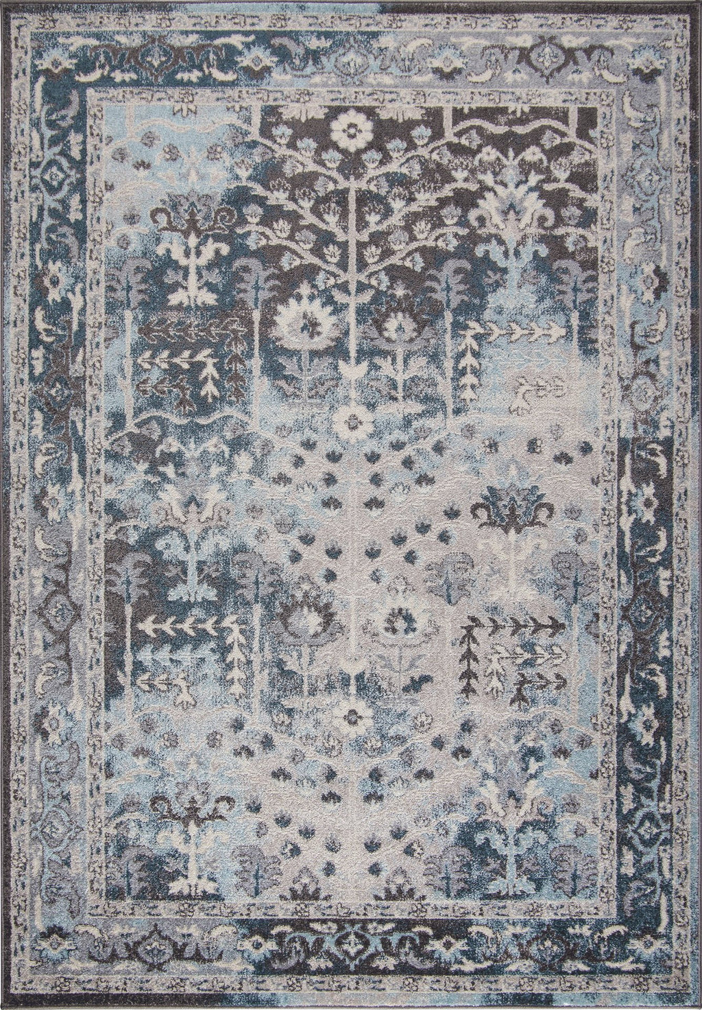 Pasific Cream Brown Blue Bordered Vintage Style Area Rug