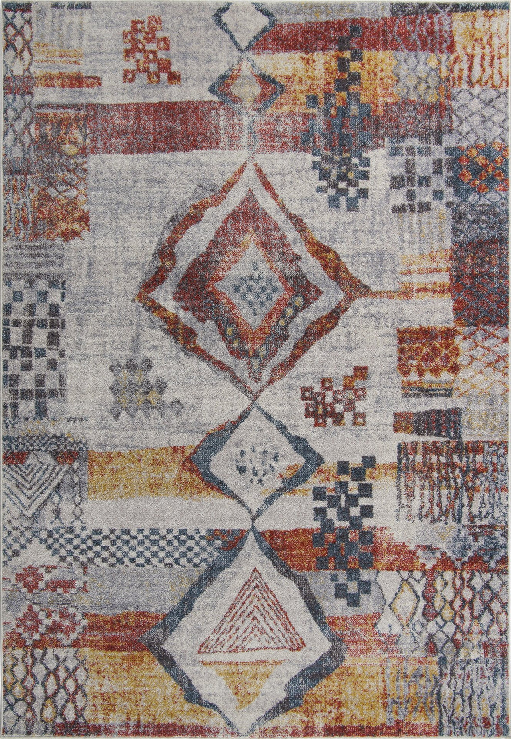 Morocco Southwestern Destressed Multicolor Area Rug