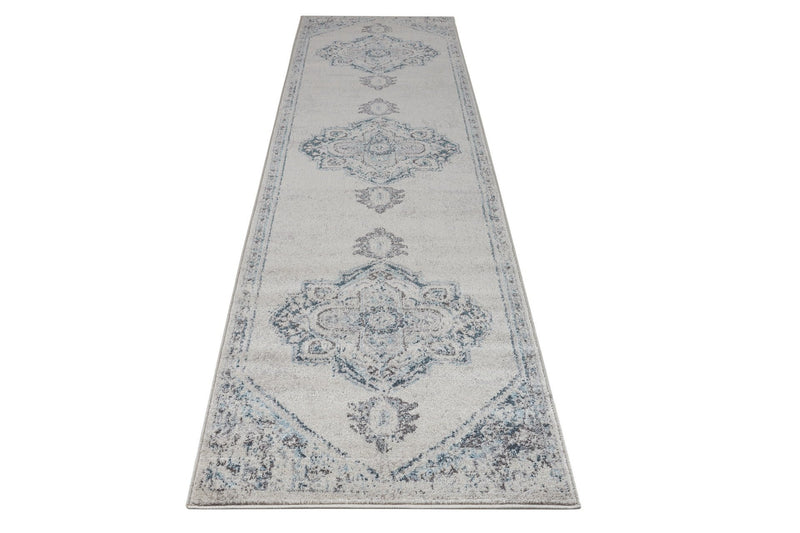 Miranda Persian Traditional Ivory Blue Area Rug Runner