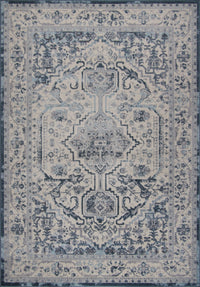 Goldline Cream Ivory Blue Bordered Persian Style Area Rug