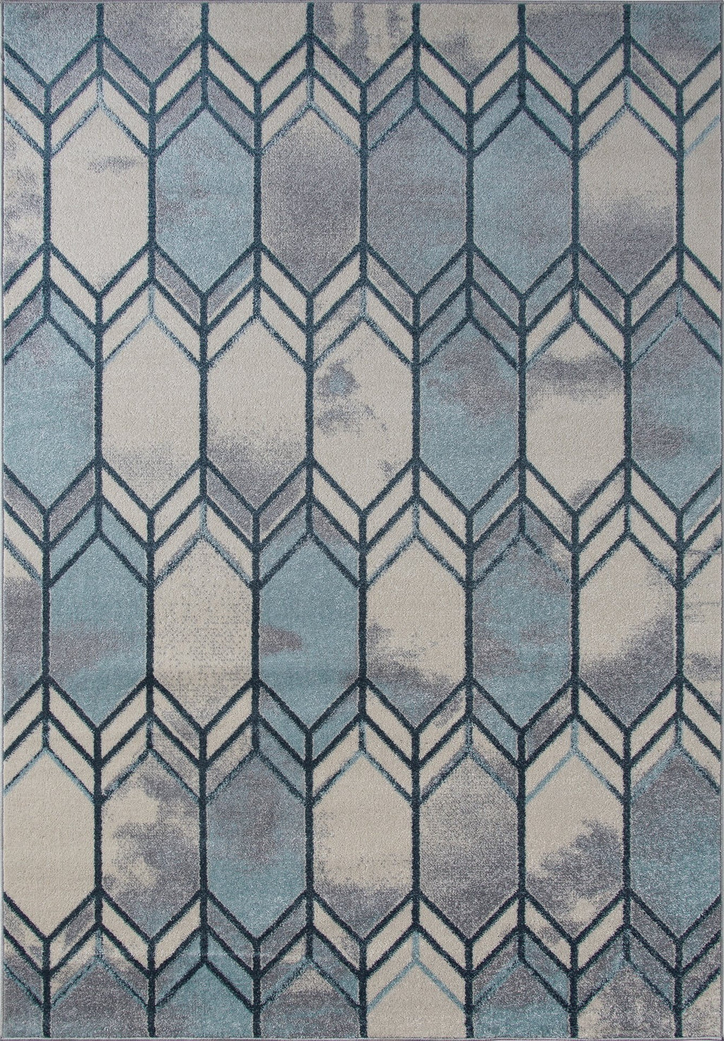 Stella Ivory Blue Grey Honeycomb Pattern Are Rug