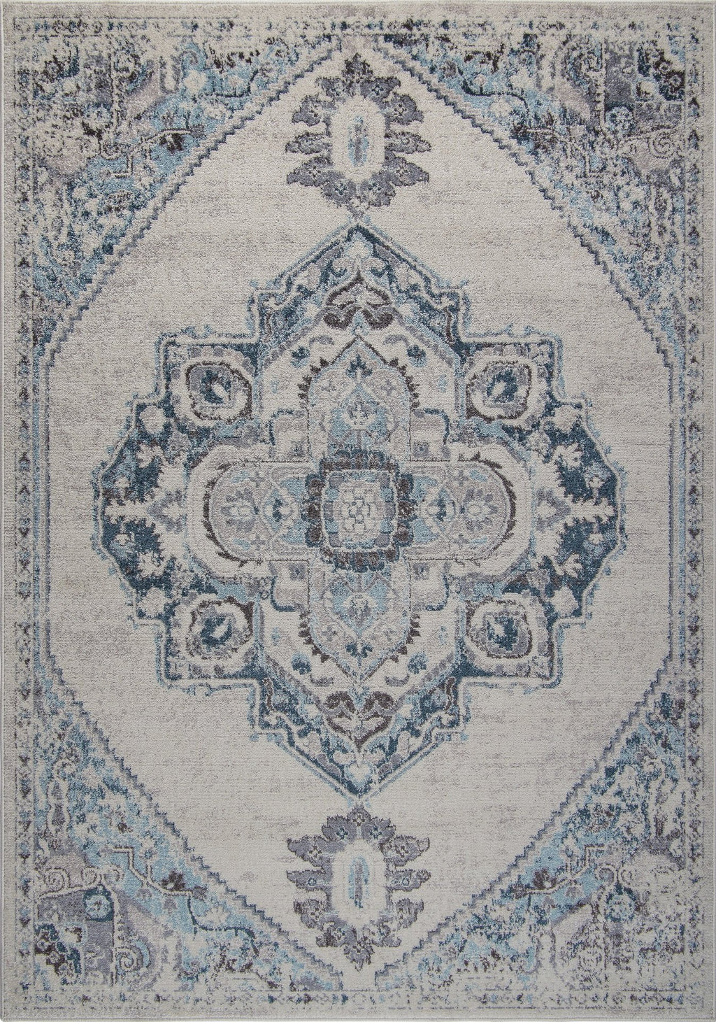 Miranda Persian Traditional Ivory Blue Area Rug