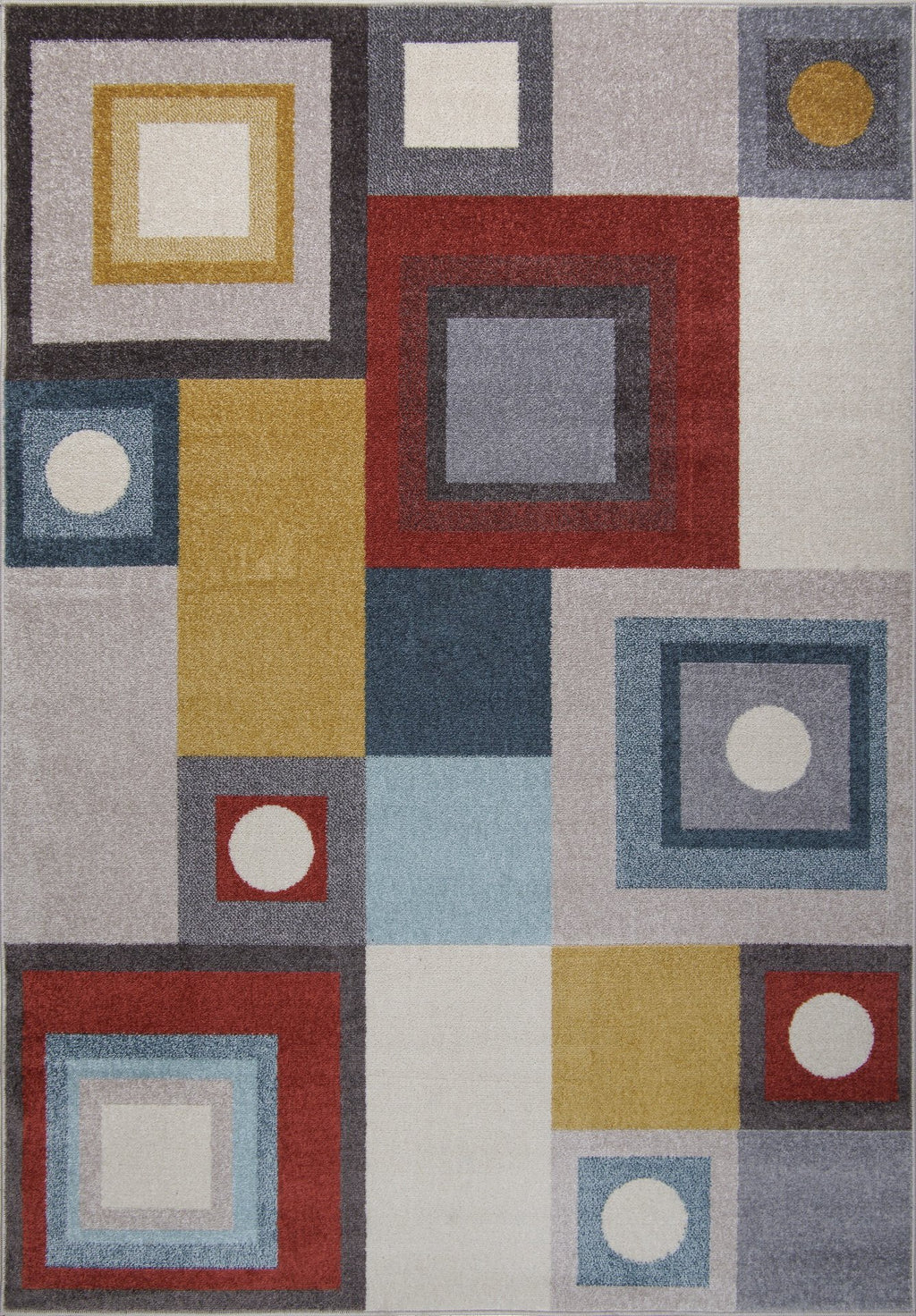 Ayala Bohemian Squares and Rounds Multicolor Area Rug