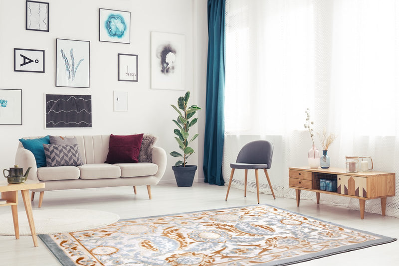 Abstract Traditional Pattern Turkish Beige Blue White Contemporary Area Rug Carpet