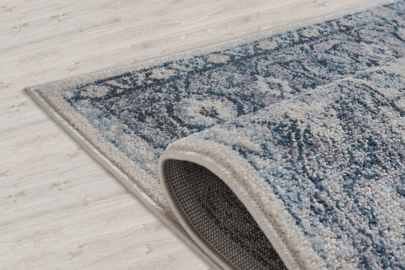 Atlantis Persian Bordered Blue and Grey Area Rug