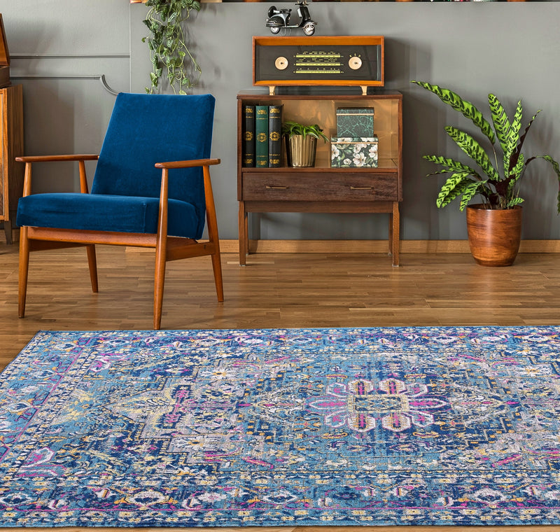 TMS13100 Timeless Collection Rowen Beautiful Blue Traditional Outdoor Mat, 2x3