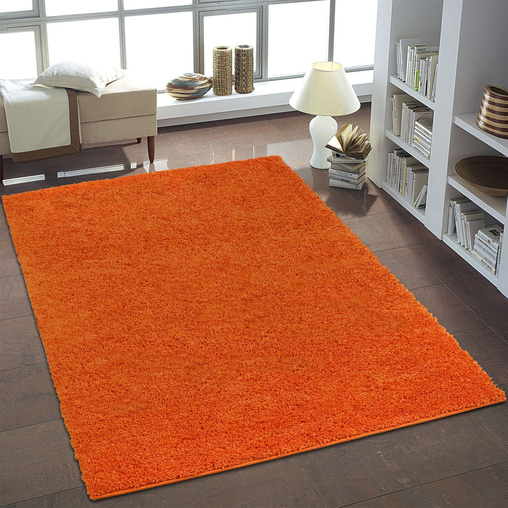 Shaggy Orange Area Rug