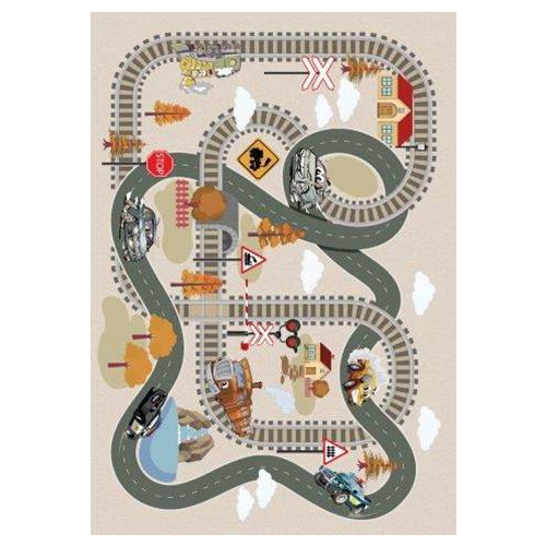 Beige Train Tracks Flatweave Play Area Rug