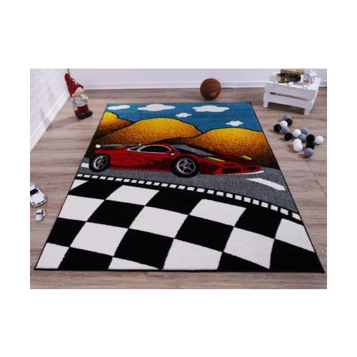 "Red and Black Car on Road Polypropylene Kids Area Rug Carpet in Multicolor, 5x7 (5'3"" x 7'4"", 160cm x 225cm), 5'3"" x 7'4"" (160cm x 225cm), Multicolor"