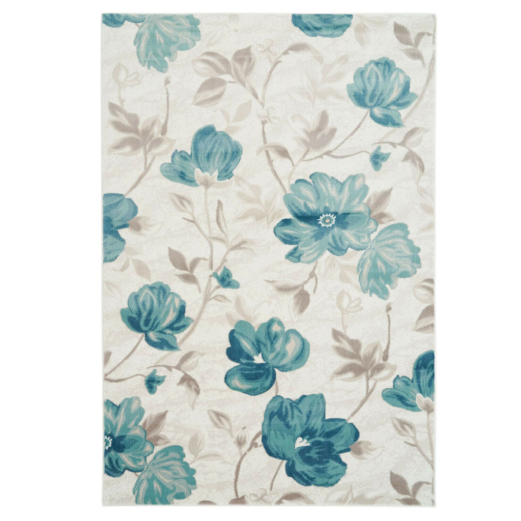 Area Rug Begonia Floral Modern Contemporary Synthetic Living Room Rug, Dining Area Rug (Blue, 5 x 8 (160cm x 230cm))
