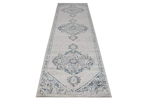 "Miranda Persian Traditional Ivory Blue Area Rug 2'7"" X 4'11"" (Approx. 3 by 5 feet) for Entrance, Hallway, Balcony"